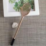 5 PCS Cartoon Cute Badminton Racket Pattern School Office Supplies Stationery Black Refill Kawaii Ballpoint Pen (Gold (black refill))