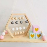 Natural Wooden Abacus Beads Craft Baby Early Learning Educational Toys Baby Room Decor (Wood White Silver)