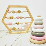 Natural Wooden Abacus Beads Craft Baby Early Learning Educational Toys Baby Room Decor (Macaron)