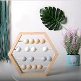 Natural Wooden Abacus Beads Craft Baby Early Learning Educational Toys Baby Room Decor (Wood White Grey)