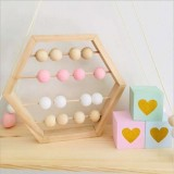 Natural Wooden Abacus Beads Craft Baby Early Learning Educational Toys Baby Room Decor (Wood White Pink)