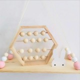 Natural Wooden Abacus Beads Craft Baby Early Learning Educational Toys Baby Room Decor (Wood Color)