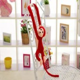 Kawaii Long Arm Tail Monkey Stuffed Doll Plush Toys Curtains Baby Sleeping Appease Animal Doll Birthday Gifts, Height: 60cm (Red)