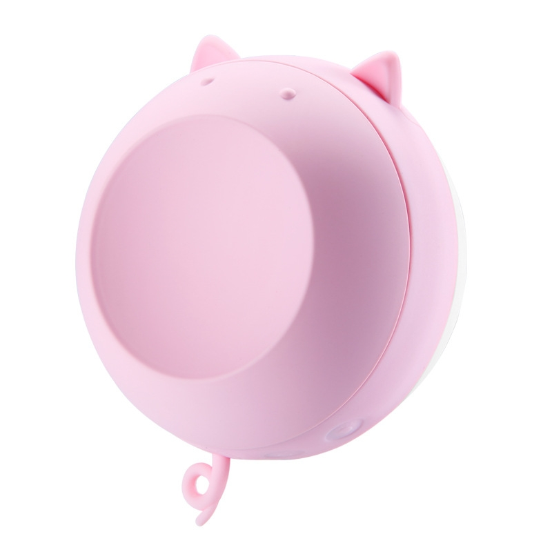 Mini Portable Hand Warmer Magnetic Rechargeable Hot Water Bag with LED Light Makeup Mirror (Pink)