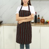 Chef Aprons Unisex Kitchen Hotel Coffee Shop Bakery Waiter Work Wear, Style: Red And White Vertical Bars, Size: 65x73cm