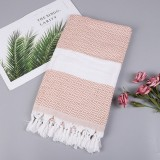 Striped Cotton Bath Towel With Tassels Thin Travel Camping Bath Sauna Beach Gym Pool Blanket Absorbent Easy Care (Peruvian Color)