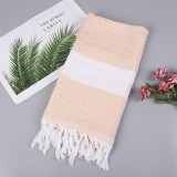Striped Cotton Bath Towel With Tassels Thin Travel Camping Bath Sauna Beach Gym Pool Blanket Absorbent Easy Care (Light Orange)
