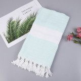 Striped Cotton Bath Towel With Tassels Thin Travel Camping Bath Sauna Beach Gym Pool Blanket Absorbent Easy Care (Sky Blue)