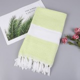 Striped Cotton Bath Towel With Tassels Thin Travel Camping Bath Sauna Beach Gym Pool Blanket Absorbent Easy Care (Tender Green)