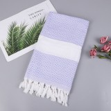 Striped Cotton Bath Towel With Tassels Thin Travel Camping Bath Sauna Beach Gym Pool Blanket Absorbent Easy Care (Light purple)
