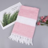 Striped Cotton Bath Towel With Tassels Thin Travel Camping Bath Sauna Beach Gym Pool Blanket Absorbent Easy Care (Pink)
