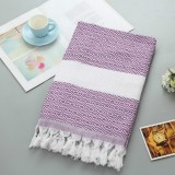 Striped Cotton Bath Towel With Tassels Thin Travel Camping Bath Sauna Beach Gym Pool Blanket Absorbent Easy Care (Purple)