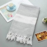 Striped Cotton Bath Towel With Tassels Thin Travel Camping Bath Sauna Beach Gym Pool Blanket Absorbent Easy Care (Grey)