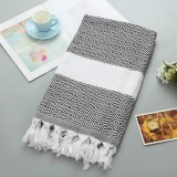 Striped Cotton Bath Towel With Tassels Thin Travel Camping Bath Sauna Beach Gym Pool Blanket Absorbent Easy Care (Black)