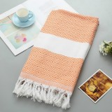 Striped Cotton Bath Towel With Tassels Thin Travel Camping Bath Sauna Beach Gym Pool Blanket Absorbent Easy Care (Orange)
