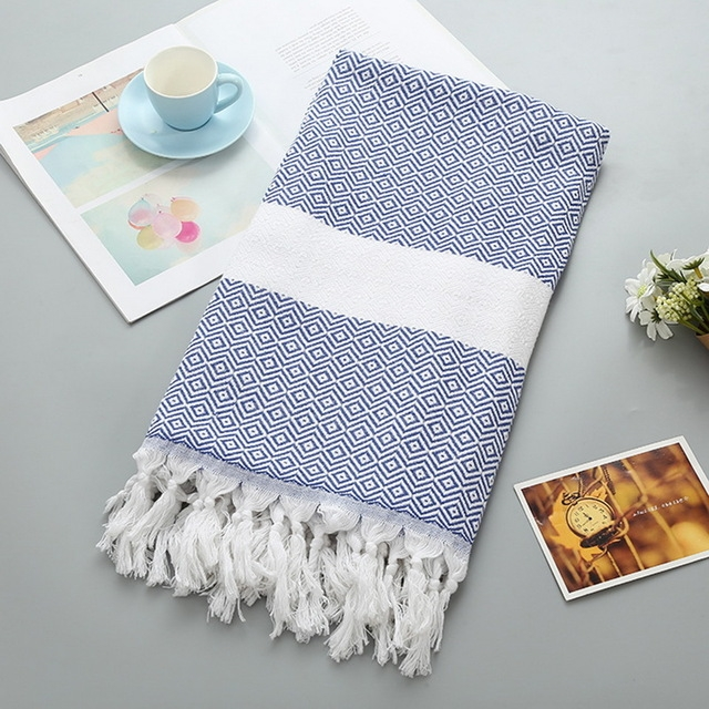 Striped Cotton Bath Towel With Tassels Thin Travel Camping Bath Sauna Beach Gym Pool Blanket Absorbent Easy Care (Blue)