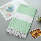 Striped Cotton Bath Towel With Tassels Thin Travel Camping Bath Sauna Beach Gym Pool Blanket Absorbent Easy Care (Green)