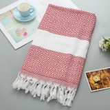 Striped Cotton Bath Towel With Tassels Thin Travel Camping Bath Sauna Beach Gym Pool Blanket Absorbent Easy Care (Red)