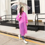 Disposable PEVA Environment Transparent Raincoat Outdoor Hiking Siamese Raincoat (Pink)