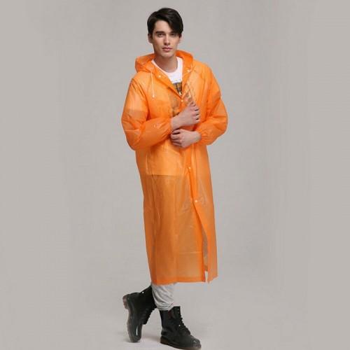 Disposable PEVA Environment Transparent Raincoat Outdoor Hiking Siamese Raincoat (Orange)