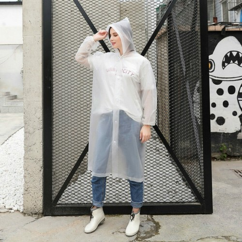 Disposable PEVA Environment Transparent Raincoat Outdoor Hiking Siamese Raincoat (White)