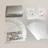 2 PCS Waterproof Durable Silver Foil Plastic Creative Playing Cards Gift
