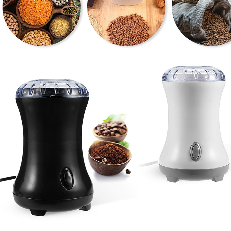 Electric Coffee Grinder Bean Grinding Household Kitchen Tools (White)