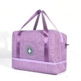 Oxford Dry Wet Separation Storage Bag Travel Storage Bag Large Capacity Handbag (Purple)