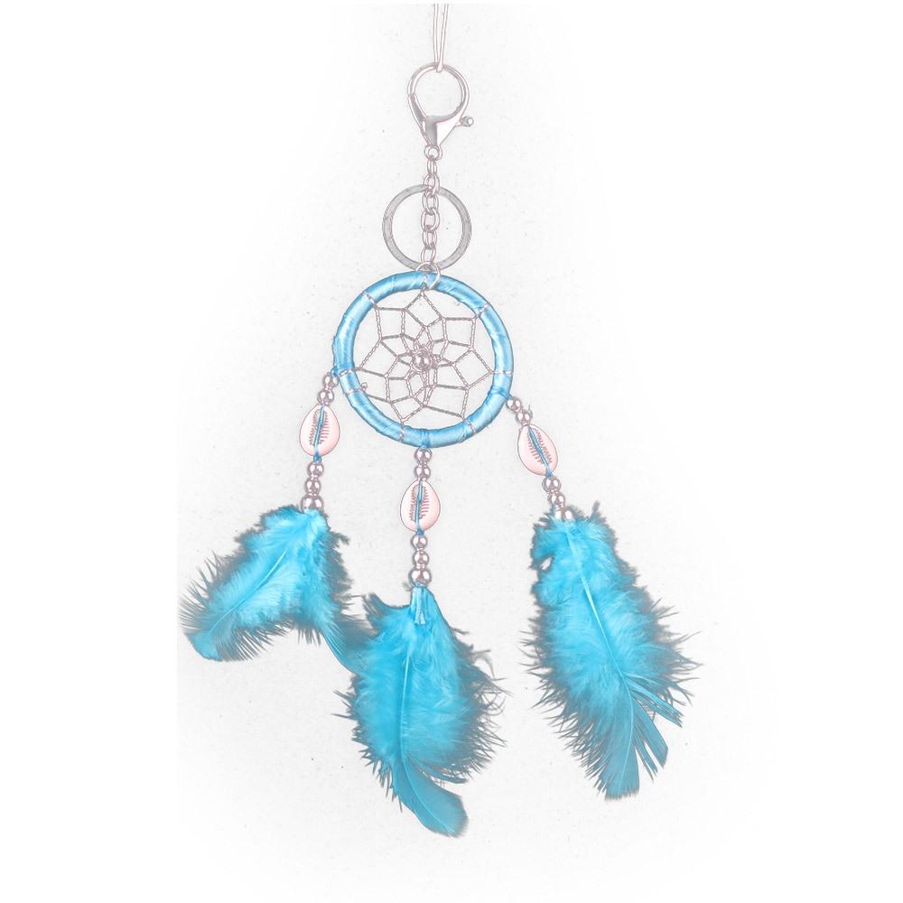 Single Ring Imitation Shell Keychain Dream Catcher Pendant Car Feather Dream Catcher (Lake Blue)
