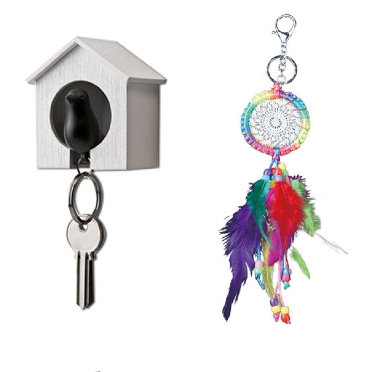Colorful Crochet Lace Feather Keychain