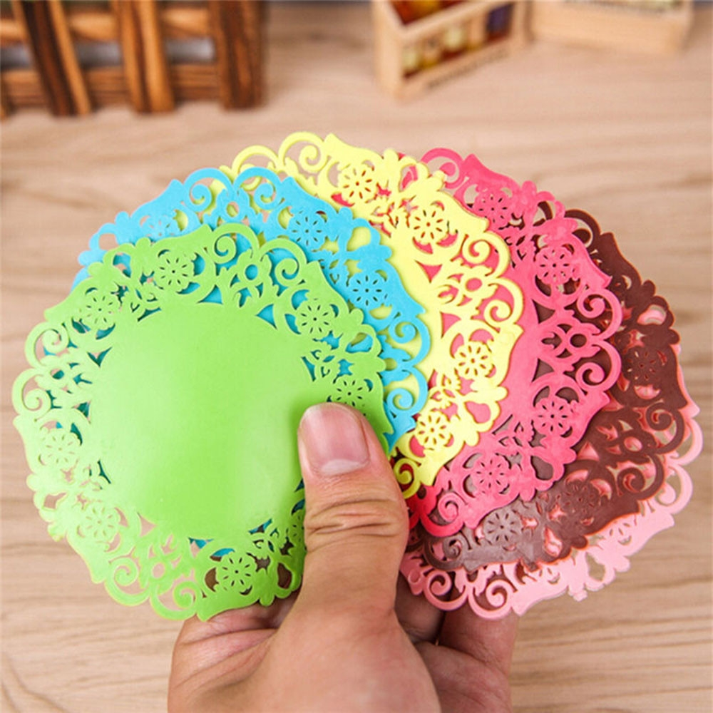 30 PCS Lace Flower Hot Coaster Silicone Cup Pad Slip Insulation Pad Cup Mat Pad Hot Drink Holder (Green)