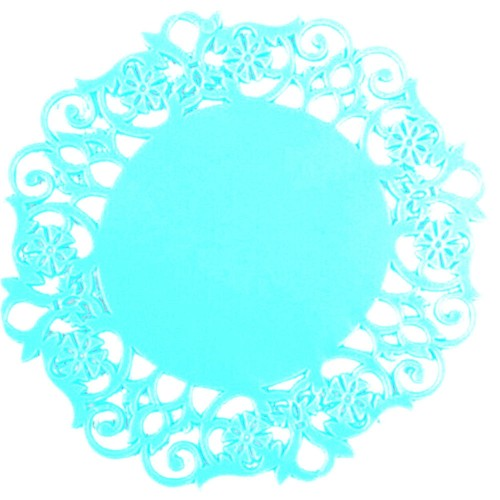 30 PCS Lace Flower Hot Coaster Silicone Cup Pad Slip Insulation Pad Cup Mat Pad Hot Drink Holder (Blue)