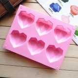 6 in 1 Heart Shape Silicone Mold For Baking Mousse Cake DIY Silicone Molds