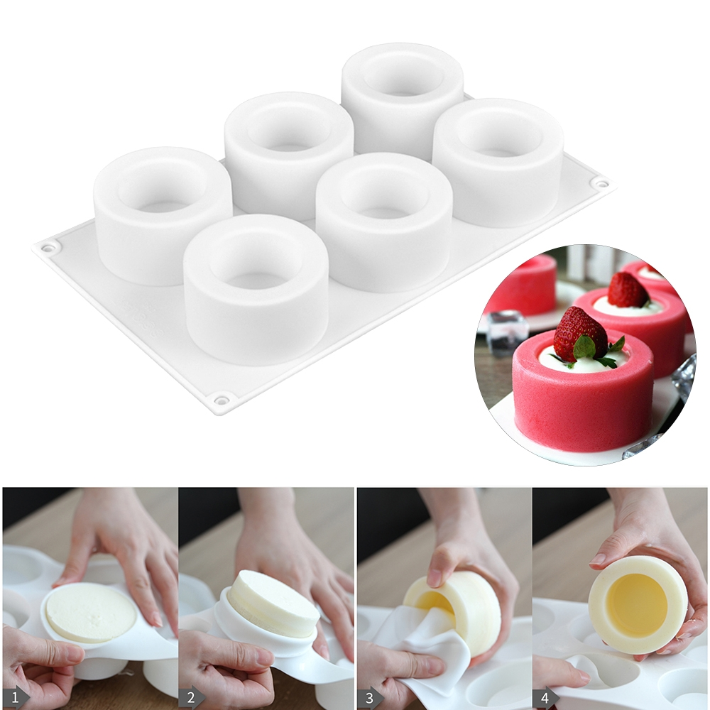 3D Silicone 6 Holes Cake Mold Baking Pastry Mousse Chocolate Mold (White)