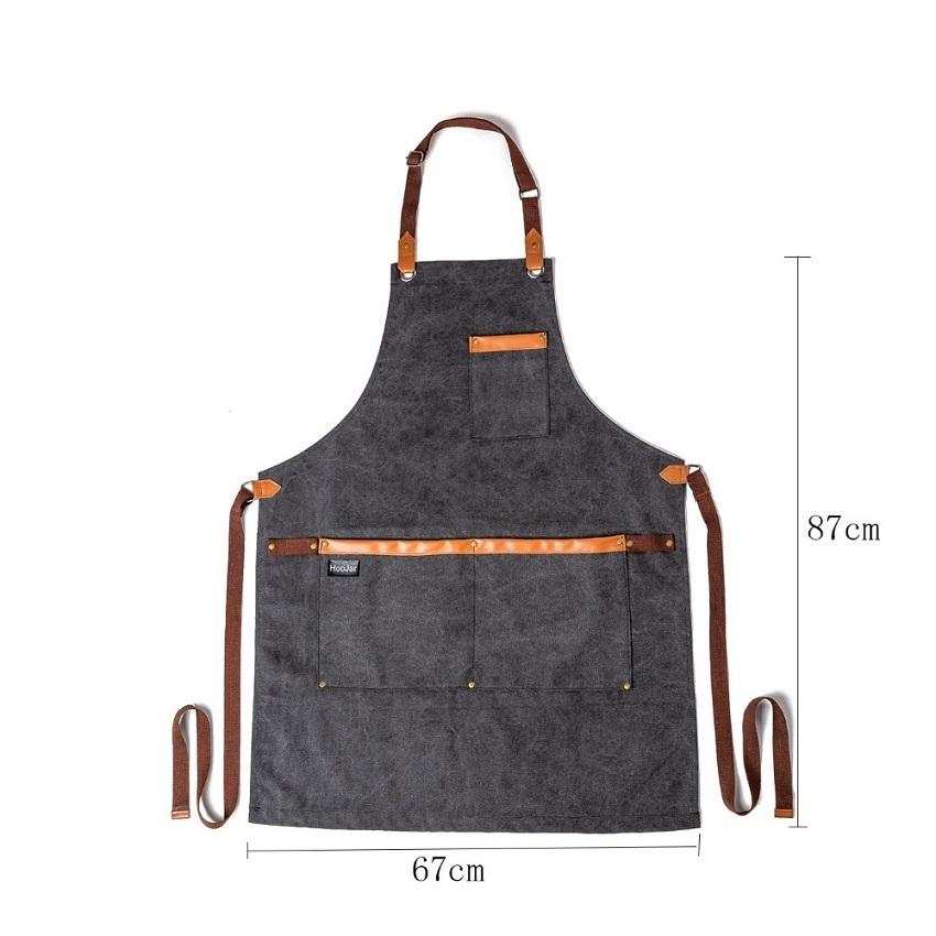 Washed Canvas Apron Chef Cafe Shop BBQ Hairdresser Aprons (Khaki)