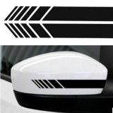 10 PCS Simple Rearview Mirror Car Stickers Rearview Mirror Personality Scratches Reflective Car Stickers (Black)