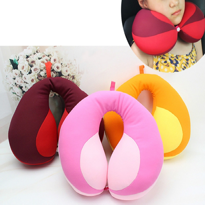 2 PCS Travel Neck Pillow U-Shape For Car Headrest Air Cushion (Yellow)