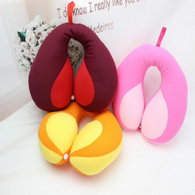 2 PCS Travel Neck Pillow U-Shape For Car Headrest Air Cushion (Pink)
