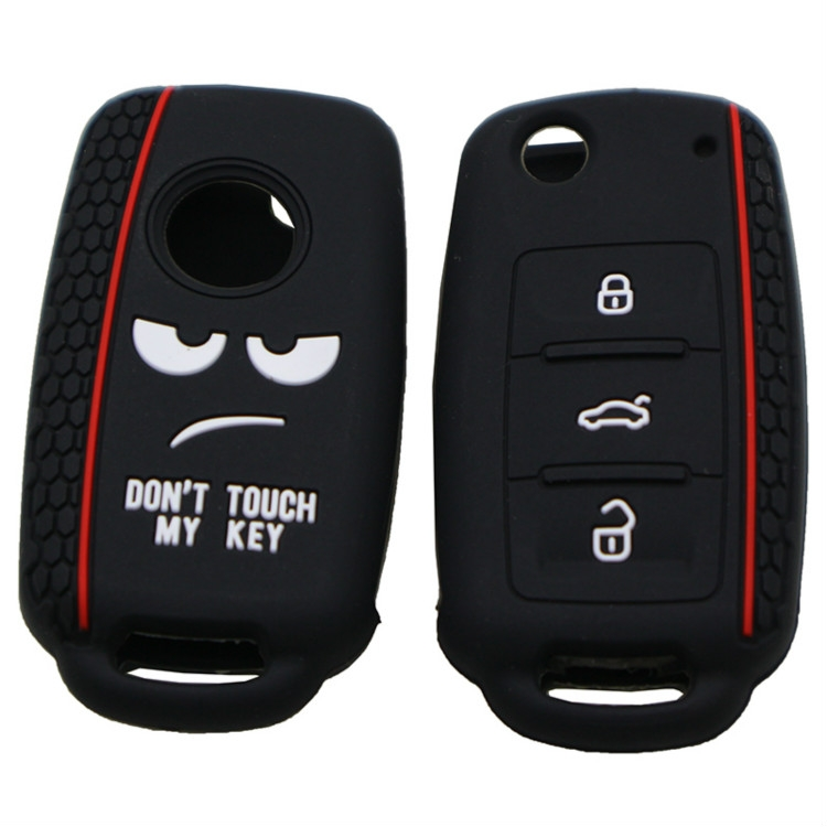 Do not Touch My Key Style Silicone Car Key Cover for Volkswagen Jetta Polo Passat Skoda Tiguan Golf (Black)