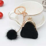 3 PCS Mini Unique Keychain Coin Purse Women Pompon Rabbit Fur Ball Plush Key Ring Holder Girls Bags Charm Women Purse Wallet (Black)