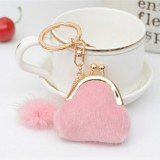 3 PCS Mini Unique Keychain Coin Purse Women Pompon Rabbit Fur Ball Plush Key Ring Holder Girls Bags Charm Women Purse Wallet (Pink)