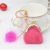 3 PCS Mini Unique Keychain Coin Purse Women Pompon Rabbit Fur Ball Plush Key Ring Holder Girls Bags Charm Women Purse Wallet (Rose Red)