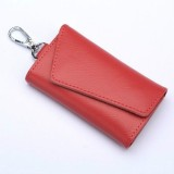 Multifunctional Litchi Texture Leather Keychain Bag Car Key Bag (Watermelon Red)