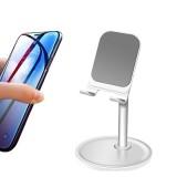 Universal 4-10 inch Phone Tablet Non-slip Aluminum Metal Holder Stand Adjustable Desktop Tablet Bracket Mount, Version: Version 1 None Telescopic (Sliver)