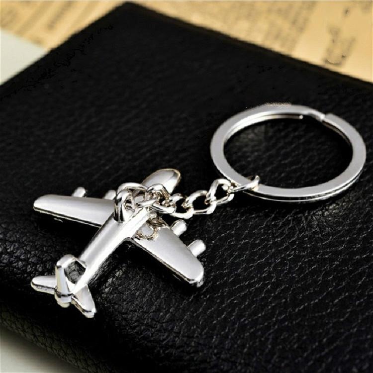 2 PCS Creative Stereo Plane Metal Keychain Bag Pendant Souvenir, Specification: 4 x 4 cm (Silver Small Plane)