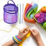 Mesh Bag DIY Hand Weaving Tools Yarn Storage Knitting Bag Organizer Hollow Yarn Bag (Small Beige)