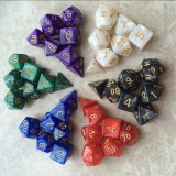 5 Set Creative RPG Game Dice Colorful Multicolor Dice Mixed DND Dice (White)