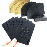 2 PCS Creative Gold Foil Poker Plastic Waterproof Playing Cards (Black)