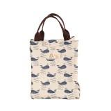 2 PCS Fashion Animal Canvas Portable Insulation Bag Lunch Bag Lunch Box Bag (whale)