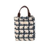2 PCS Fashion Animal Canvas Portable Insulation Bag Lunch Bag Lunch Box Bag (Polar bear)